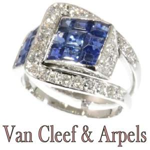 Van Cleef & Arpels Art Deco Sapphire Diamond Invisibly Set Mystery Setting Ring
